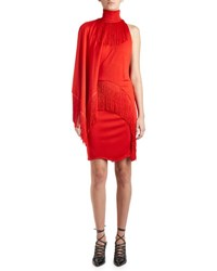Givenchy Fringed Mock Neck Dress W Cape Red