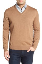 Men's Thomas Dean Regular Fit V Neck Merino Wool Sweater Camel