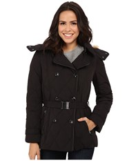 Cole Haan Down Peacoat With Removable Hood Black Women's Coat