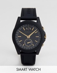 Armani Exchange Connected Axt1004 Leather Hybrid Smart Watch In Black