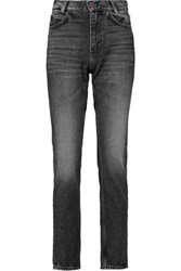 Sandro Pola High Rise Straight Leg Jeans Black