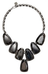 Women's Kendra Scott 'Harlow' Necklace Gunmetal Black Banded Agate