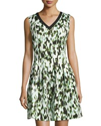 Marc New York By Andrew Marc Sleeveless V Neck Fit And Flare Dress Mint