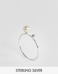 Asos Sterling Silver Pearl And Ball Station Ring Silver