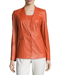 Lafayette 148 New York Stelly Leather Jacket With Lace Back Flare
