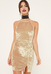 Missguided Gold 90'S Split Hem Velvet Bodycon Dress