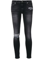 7 For All Mankind Sequined Detail Skinny Jeans Cotton Polyester Spandex Elastane Grey