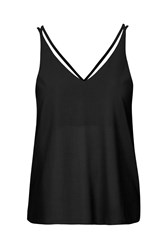 Topshop Tall Double Strap V Front Cami Black