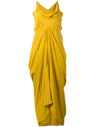 Rick Owens Ruched Evening Gown Yellow Orange