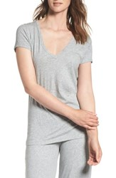 Skin Women's V Neck Pima Cotton Tee Heather Grey