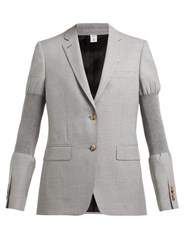 Burberry Single Breasted Ribbed Panel Wool Blazer Grey