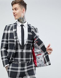 Noose And Monkey Super Skinny Suit Jacket In Grey Check