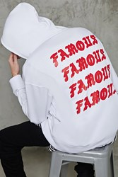 Forever 21 Famous Graphic Hoodie White Red