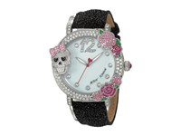 Betsey Johnson Bj00595 02 Skulls Roses Silver Black Watches Gray
