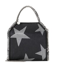 Stella Mccartney Falabella Three Chain Printed Denim Tote Black