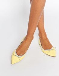 Asos Lulu Pointed Elasticated Ballet Yellow