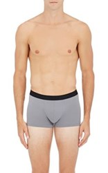Hanro Men's Logo Waistband Microfiber Boxer Briefs Grey