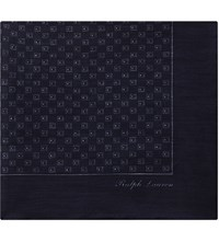 Ralph Lauren Purple Label Square Pattern Linen Cashmere Pocket Square Navy