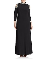 Marina Plus Size Embellished Cold Shoulder Gown Black