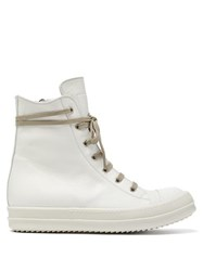 Rick Owens Leather High Top Trainers White