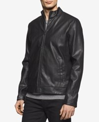 Calvin Klein Men's Faux Leather Perforated Bomber Jacket Black