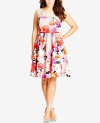 City Chic Plus Size Floral Print Illusion Fit And Flare Dress Coral Rose
