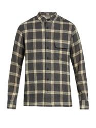 Simon Miller Bexar Point Collar Plaid Wool Shirt Grey Multi