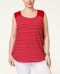 Styleandco. Style And Co. Plus Size Crochet Trim Striped Tank Top Only At Macy's Delicate Red