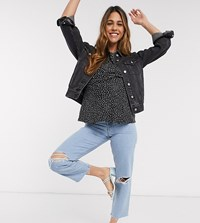 Asos Design Maternity Recycled Florence Authentic Straight Leg Jeans In Blue Wash With Rip And Raw Hem Side Waistband
