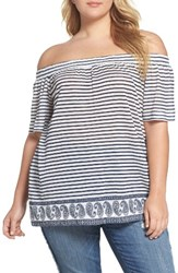 Vince Camuto Plus Size Women's Two By Off The Shoulder Paisley Stripe Top New Ivory