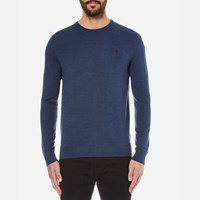 Polo Ralph Lauren Men's Crew Neck Merino Blend Knitted Jumper Shale Blue Heat