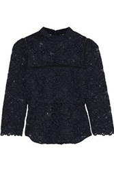 Marissa Webb Georgie Crochet Trimmed Corded Lace Top Navy