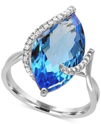 Effy Ocean Bleu By Blue Topaz 7 1 10 Ct. T.W. And Diamond 1 8 Ct. T.W. Ring In 14K White Gold