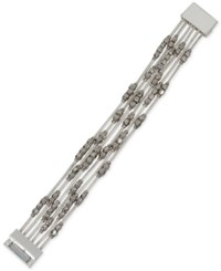 Kenneth Cole New York Silver Tone Beaded Multi Chain Magnetic Bracelet