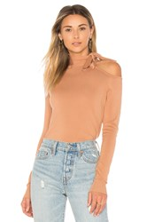 525 America One Shoulder Tie Sweater Tan
