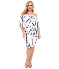 Culture Phit Plus Size Nalah Dress White Navy Tie Dye Women's Dress