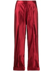 Tom Ford Silk High Waisted Trousers Red