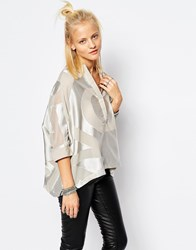 Religion Oversized Tunic Shirt In Burn Out Pattern H Grey