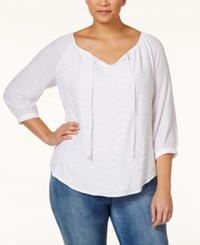 Ny Collection Plus Size Eyelet Embroidered Peasant Top White