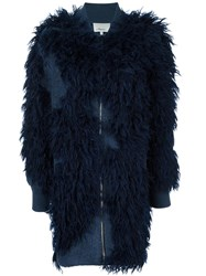 3.1 Phillip Lim Faux Fur Knit Bomber Coat Blue