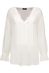 Theory Alrik Embroidered Silk Chiffon Blouse Ivory