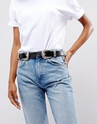 Asos Leather Double Buckle Western Waist And Hip Belt Black