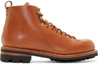 Feit Brown Leather And Wool Hiker Boots