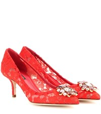 Dolce And Gabbana Bellucci Embellished Lace Pumps Red