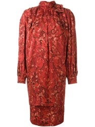 Nina Ricci Vintage High Neck Dress Red