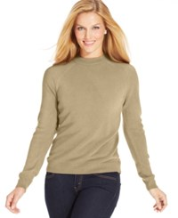 Karen Scott Long Sleeve Mock Turtleneck Sweater Oatmeal