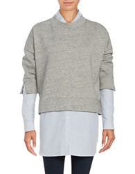 French Connection Cotton Blend Heather Pullover Grey
