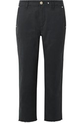Rag And Bone Buckley Cropped Cotton Blend Twill Straight Leg Pants Midnight Blue