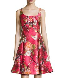 Nicole Miller New York Floral Print Satin Fit And Flare Dress Pink Pattern
