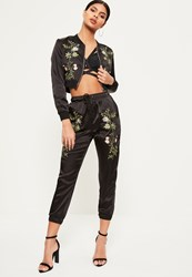 Missguided Petite Exclusive Black Satin Embroidered Joggers